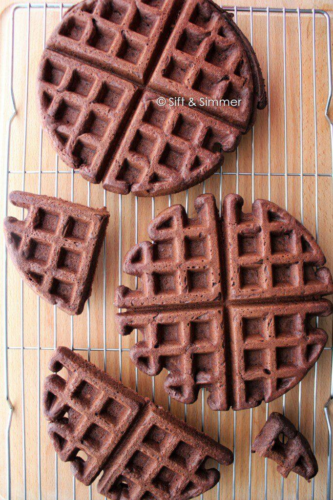 Chocolate Black Bean Waffles on cooling rack.
