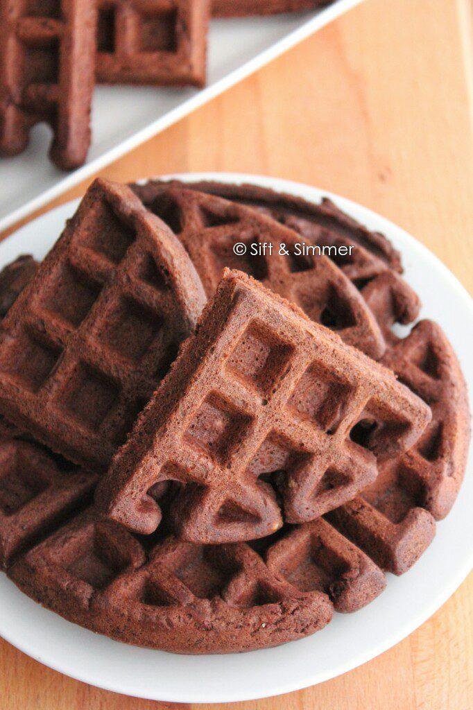 Chocolate Black Bean Waffles on white plate.