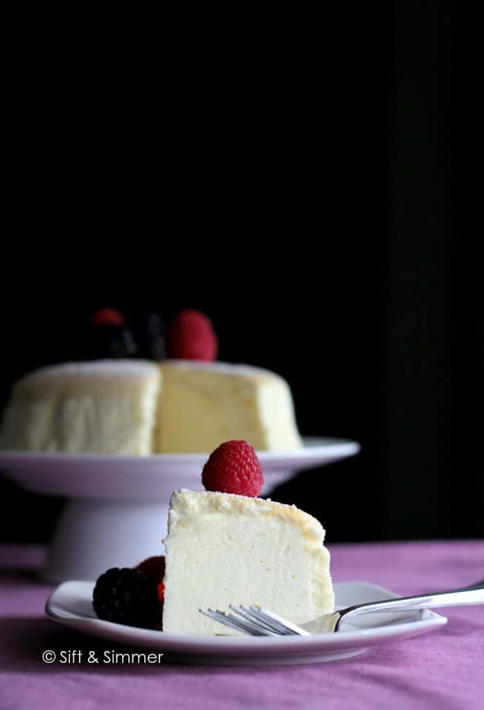 Japanese Cotton Cheesecake on white plate with fork.