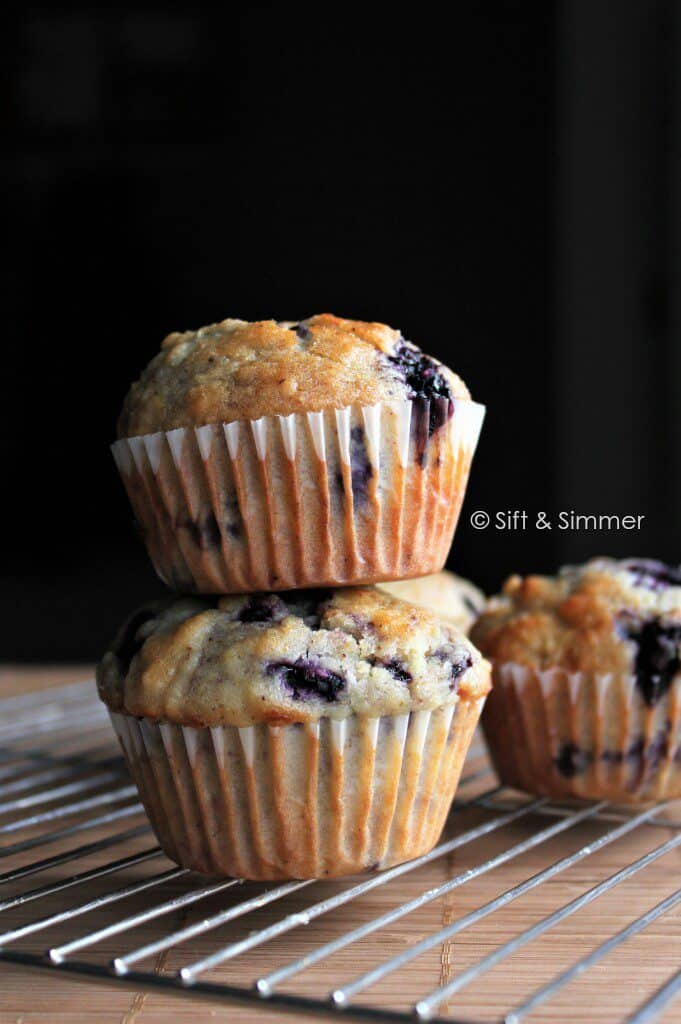 Stack of Blueberry Muffins.
