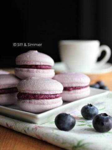 Vegan Blueberry Macarons | Sift & Simmer