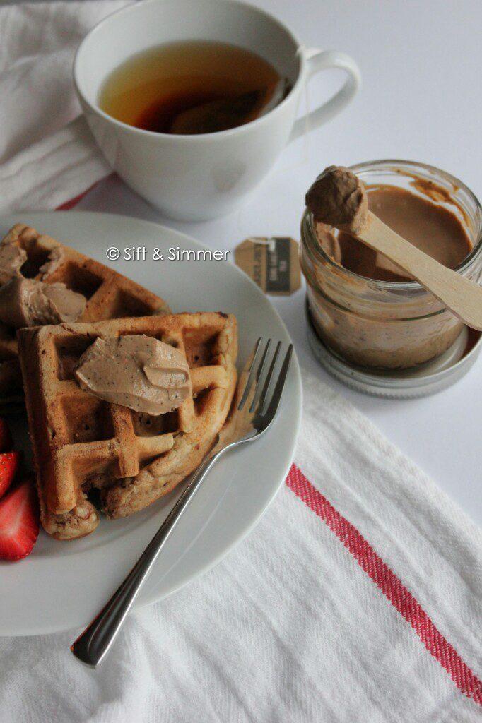 Earl Grey Milk Jam Spread on chickpea peanut butter waffles.