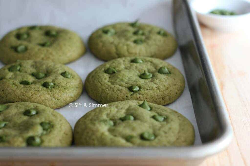 Matcha Chocolate Chip Cookies on baking tray.