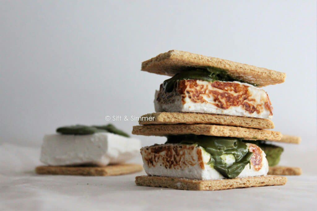 Stack of Matcha S'mores.