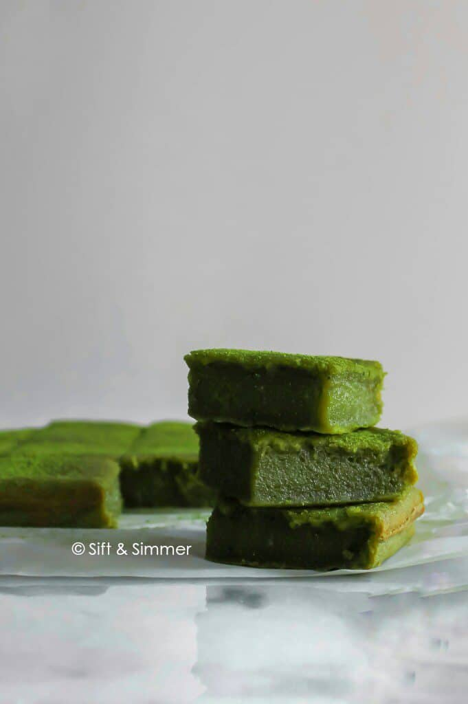 Stack of green Matcha Brownie Mochi Brochi.