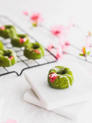 Sakura Cherry Blossom Matcha Doughnuts4 | Sift & Simmer