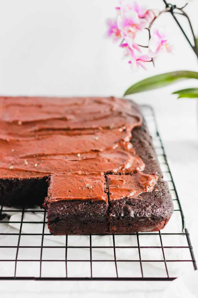Earl Grey Chocolate Sheet Cake on cooling rack.