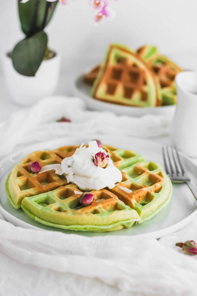 Pandan Mochi Waffles on white round plate.