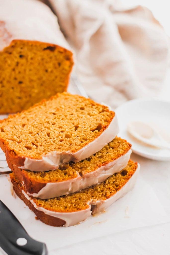 Close up of Sliced Pumpkin Spice Loaf.