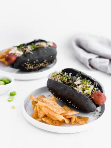Black Charcoal Hotdog Buns1   Sift & Simmer