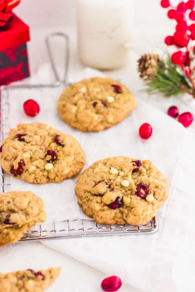 White Chocolate Cranberry Cookies with fresh cranberries scattered.