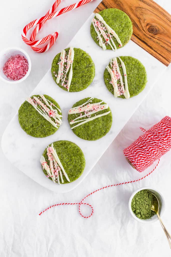 Matcha White Chocolate Peppermint Cookies on marble board.