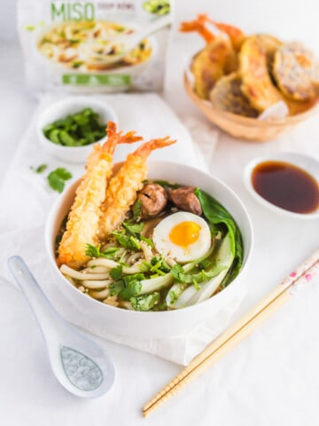 Easy and Delicious Tempura Egg Miso Udon Noodle Soup Bowl1