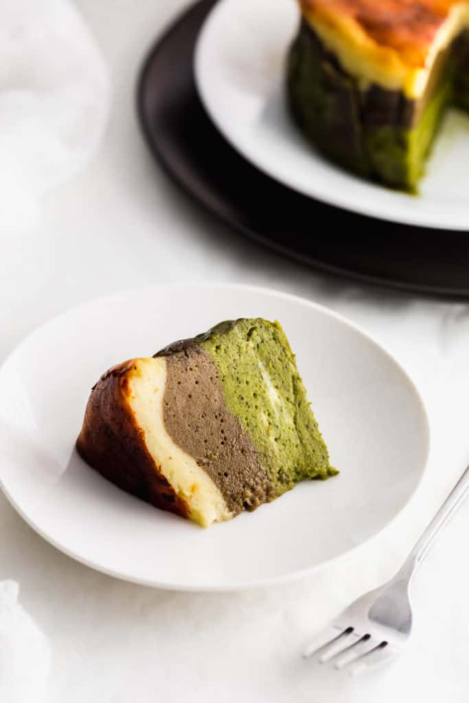 Mini Triple Layer Matcha Hojicha Burnt Basque Cheesecake Sift Simmer