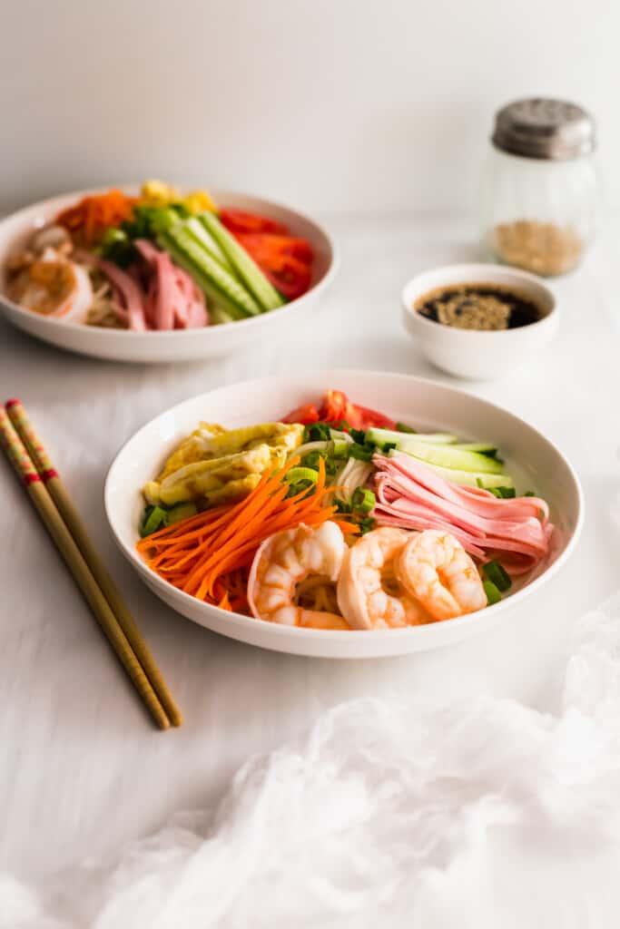 Bowls of Hiyashi Chuka Cold Ramen Noodles.