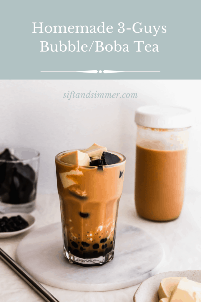 A glass of milk tea with boba, egg pudding, grass jelly on a marble trivet and straw on the side, milk tea and grass jelly in the background with text overlay.
