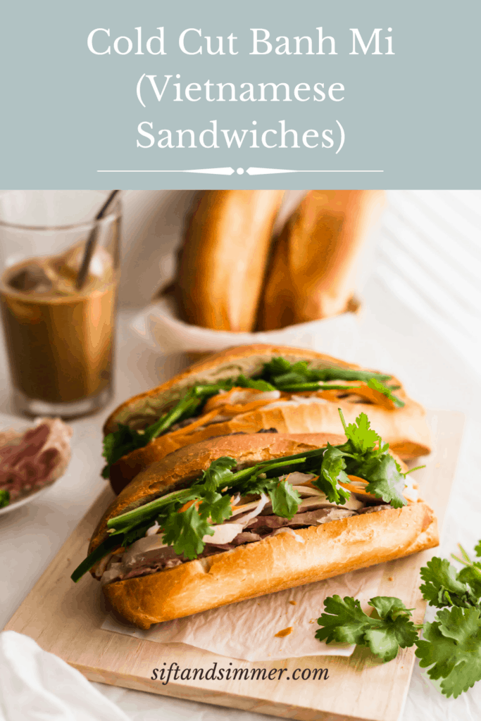 Banh mi sandwiches on wooden board with coffee on side, with text overlay.