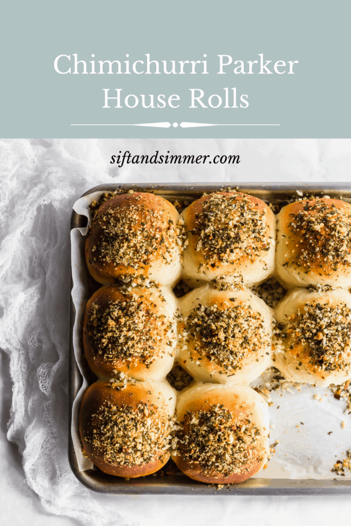 A tray of baked chimichurri buns, with text overlay..