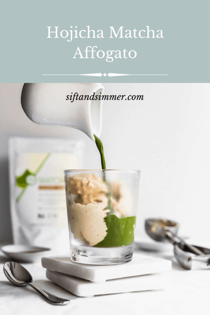 Pouring matcha over top of a glass of hojicha ice cream on top of marble coasters, spoon on side, tea packaging in background with text overlay.