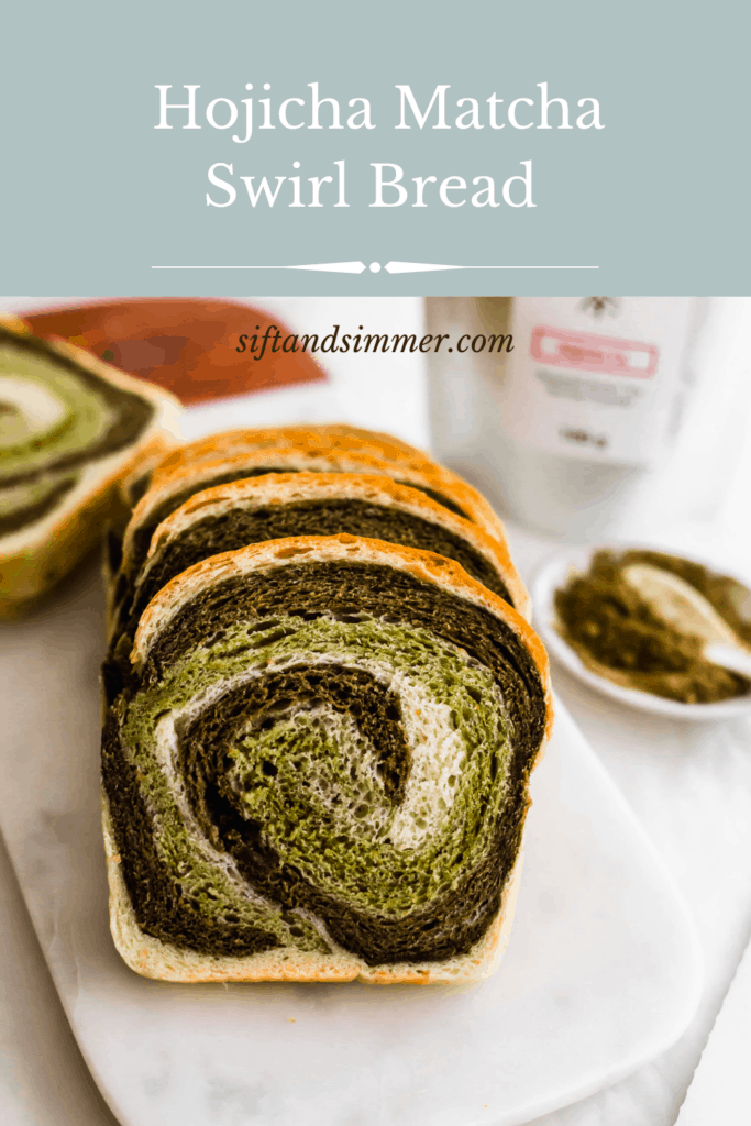 Slices of hojicha matcha swirl bread on marble with hojicha powder and tea packaging in the background.
