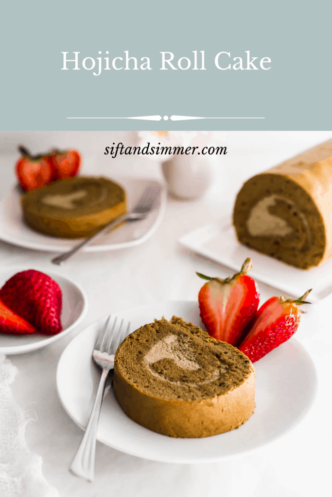 A slice of hojicha roll cake on a round plate with fork and cut strawberries, with text overlay.