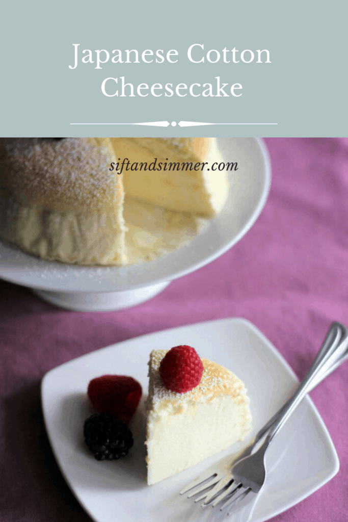 Japanese cheesecake with text overlay.
