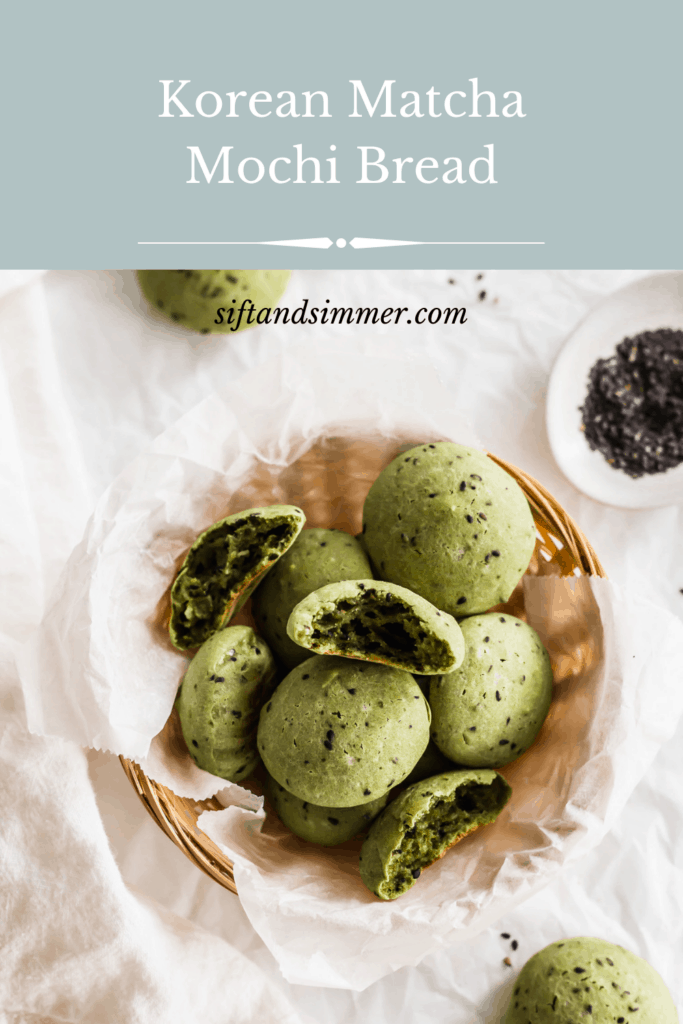 Basket of green matcha mochi bread and black sesame seeds with text overlay.