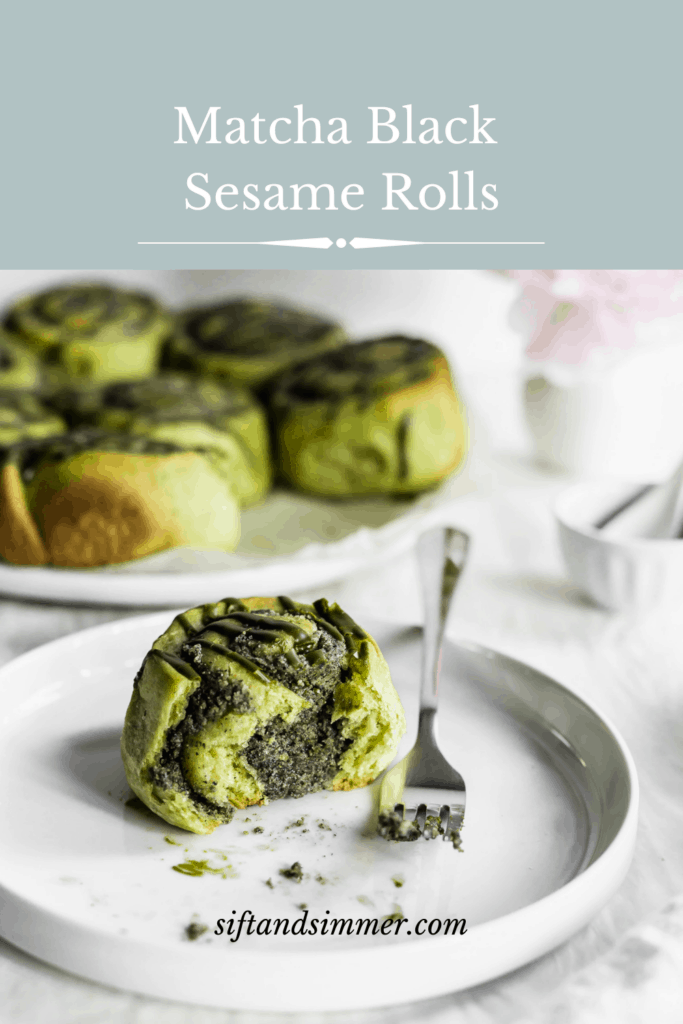 A cut open matcha black sesame roll on a small white round plate with fork, buns in background with text overlay.