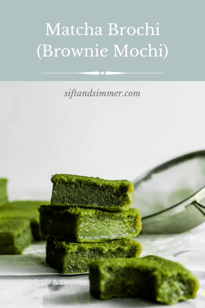 A bitten green Matcha Brownie Mochi Brochi, stack of brochi in background with text overlay.
