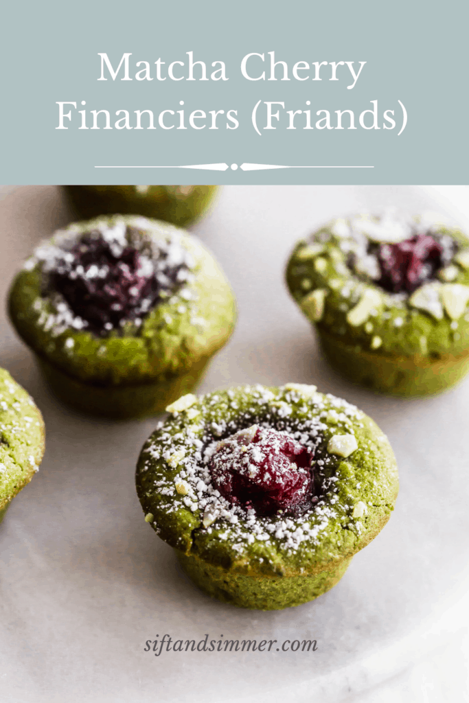 Close up of matcha cherry financiers on a white trivet with text overlay.