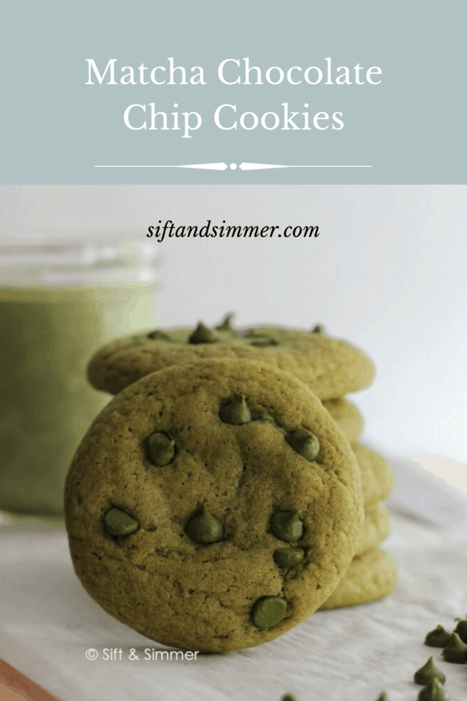 Matcha Chocolate Chip Cookies with text overlay.
