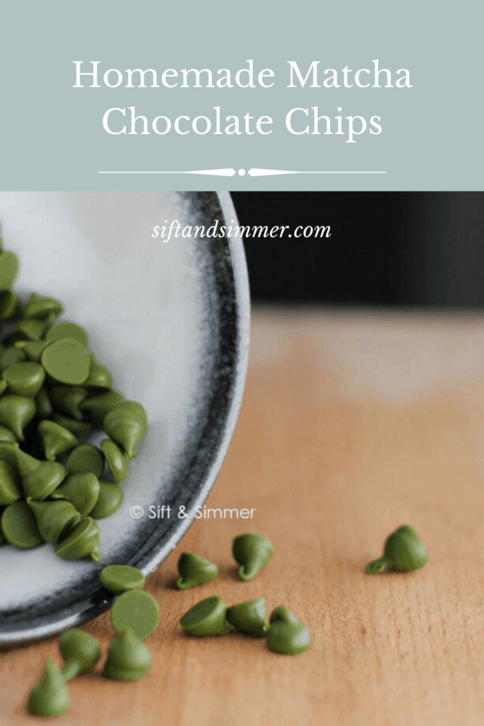 Bowl of matcha chocolate chips on wooden board with text overlay.