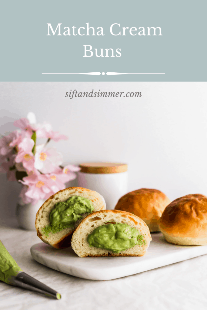 Cut bun exposing green matcha cream with whole buns on the side, with text overlay.