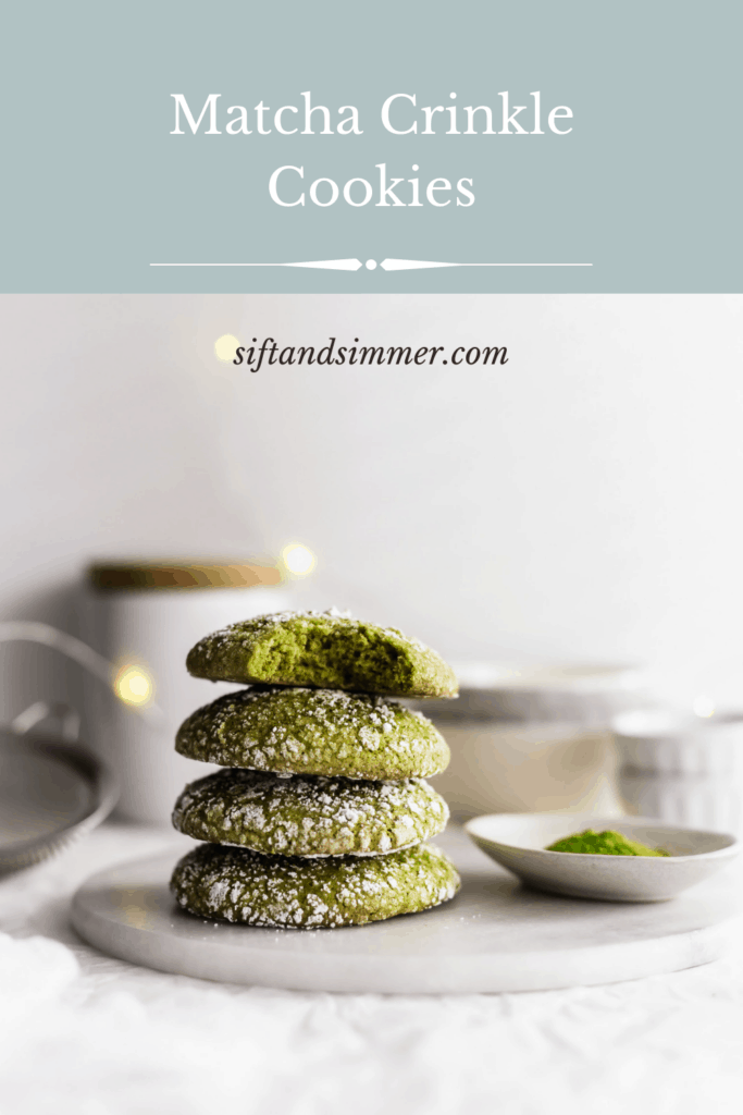 Stack of matcha crinkle cookies on marble trivet, with text overlay.