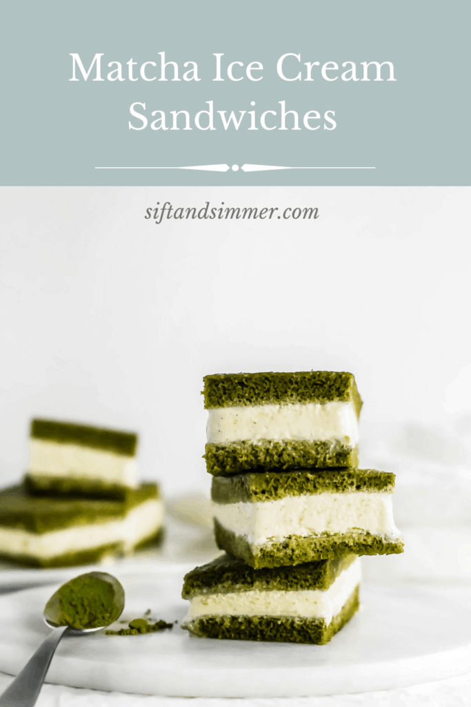 Stack of 3 Matcha Ice Cream Sandwiches on marble trivet with text overlay.