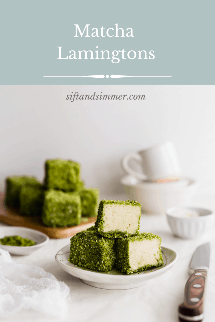 A stack of three green matcha lamingtons on a small plate with stack of lamingtons on wooden board in the background with text overlay.