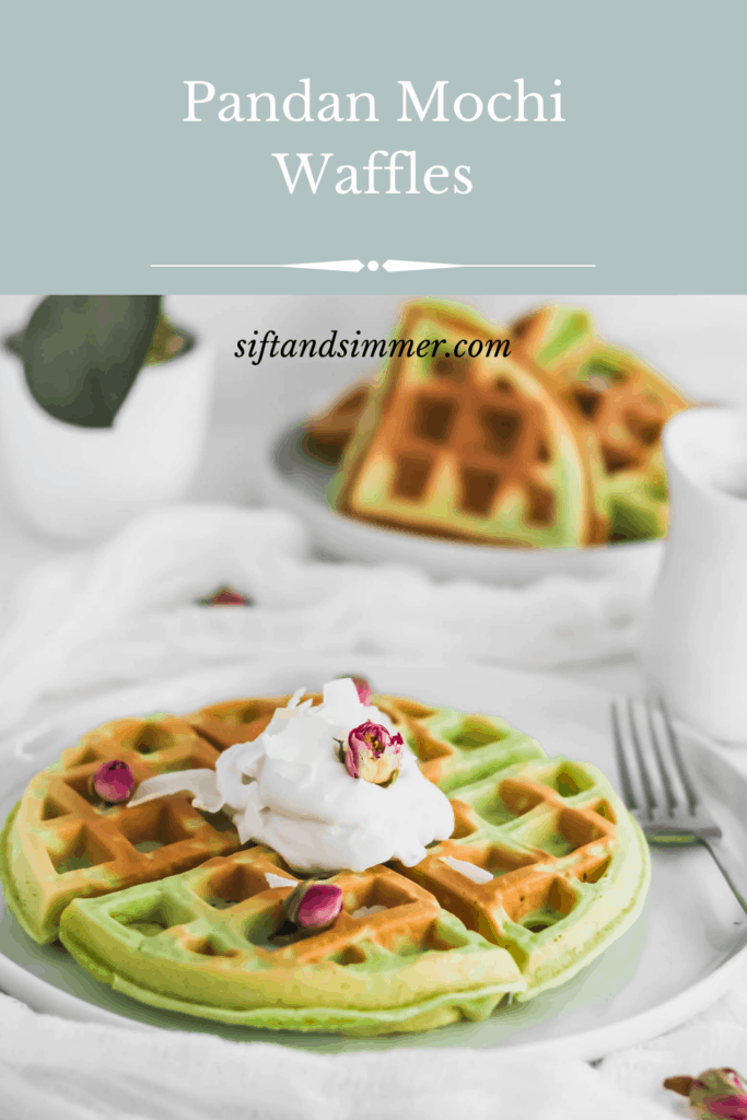 Pandan Mochi Waffles on white round plate with fork with text overlay.