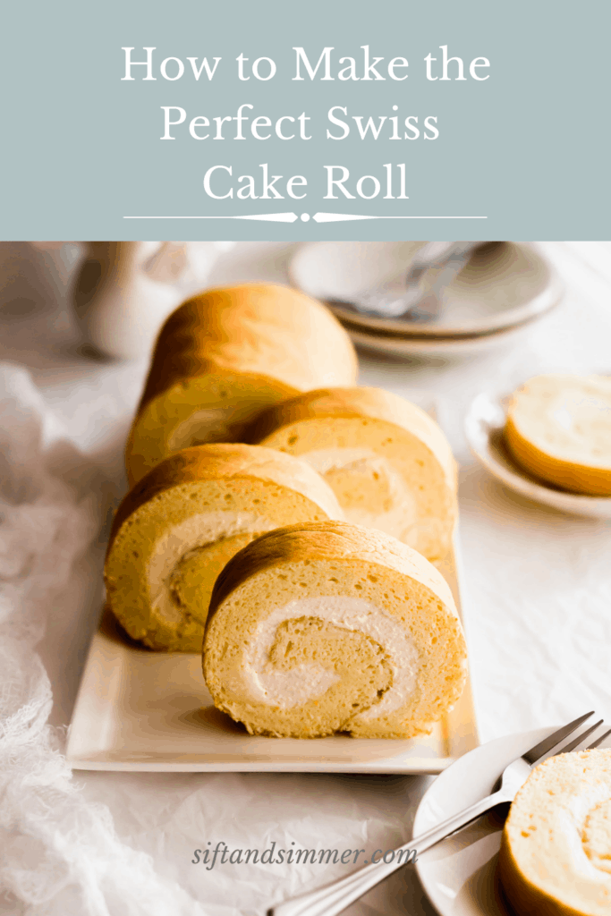 Slices of yellow roll cake with white cream on a rectangular plate with text overlay.