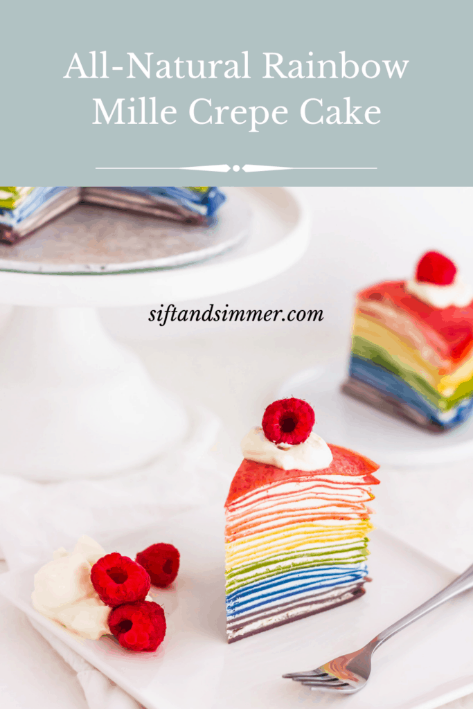 Slice of rainbow Mille Crepe Cake on square plate with fork, with text overlay.