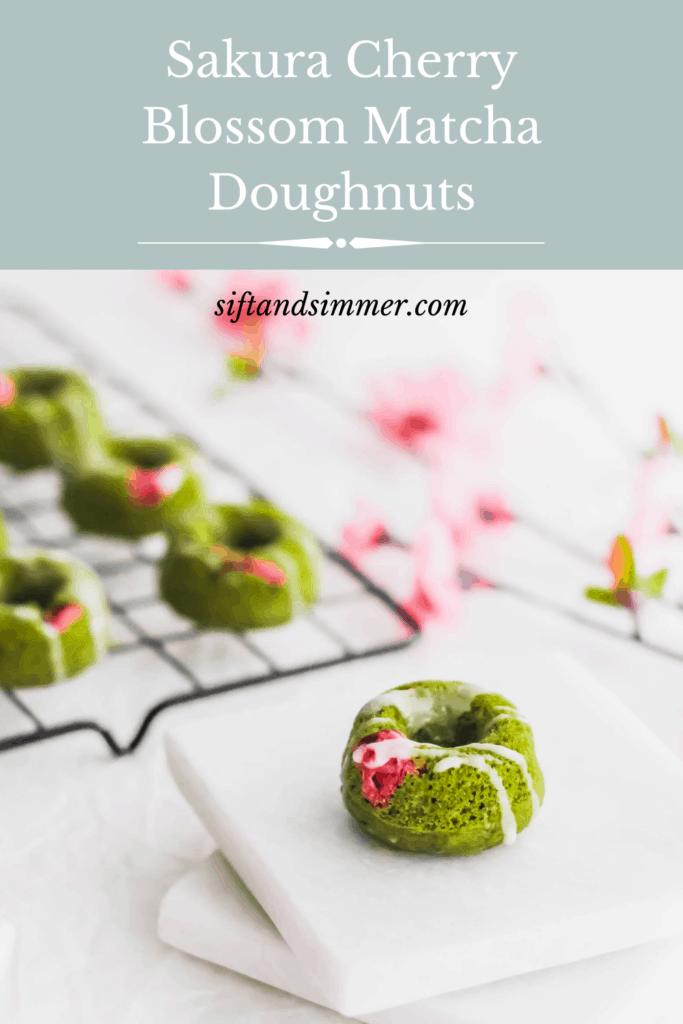 Sakura Cherry Blossom Matcha Doughnut on white marble coasters with text overlay.