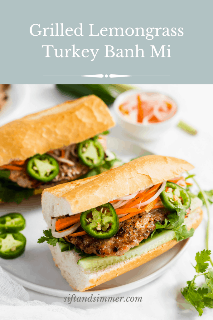 Grilled lemongrass turkey banh mi sandwich on white plate with garnishes with text overlay.
