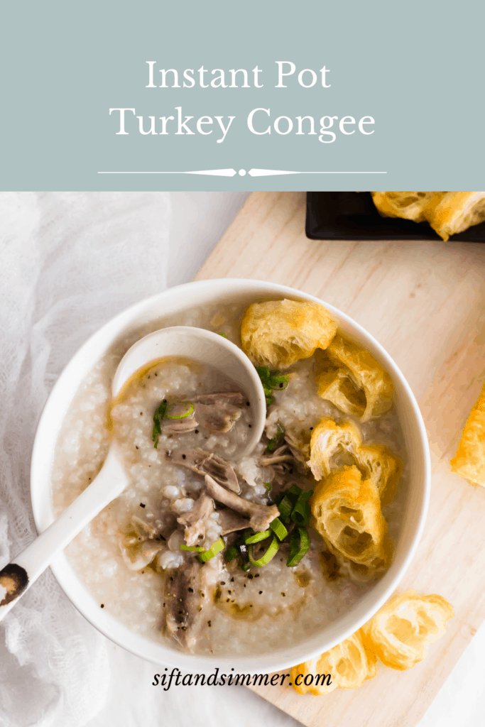 Rice congee with turkey and Chinese donut in white bowl with ladle on wooden board with text overlay.