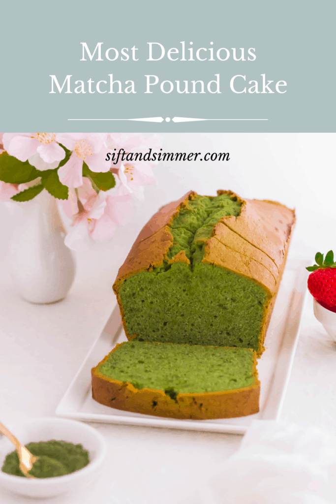 Sliced matcha pound cake on white rectangular plate, with text overlay.
