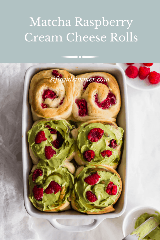 Matcha raspberry cream cheese rolls in white baking dish, with text overlay.