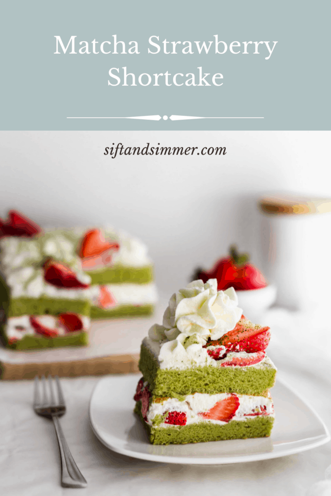 Slice of matcha strawberry shortcake on white plate with fork on side, with text overlay.