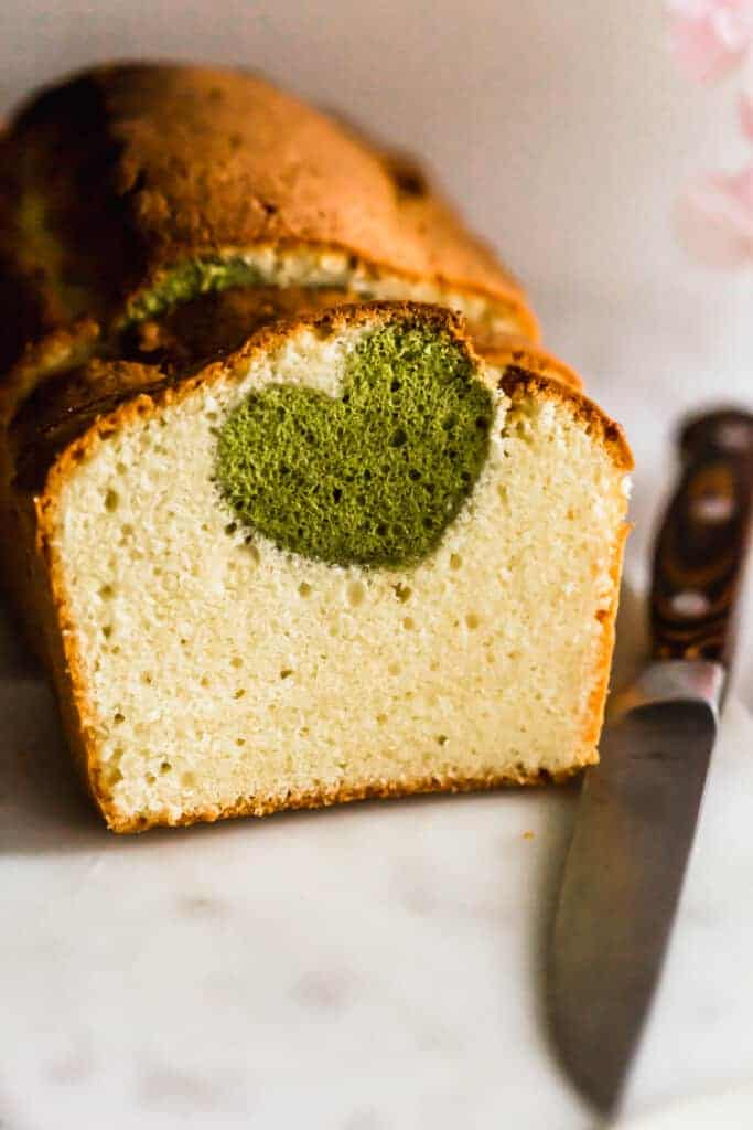 Close up of matcha heart in pound cake.