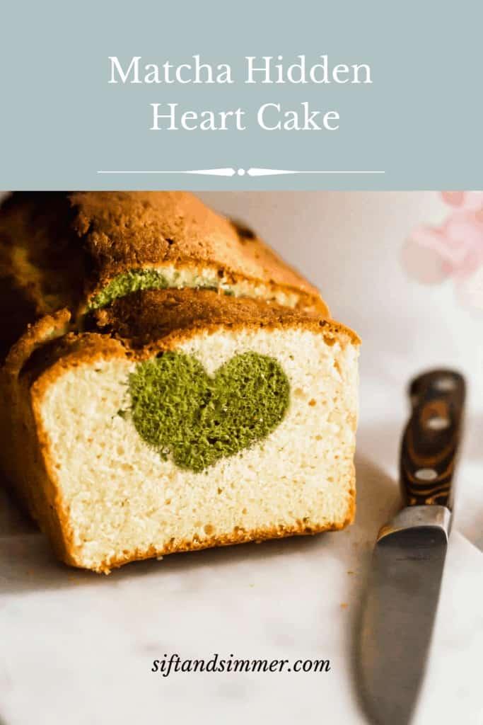 Matcha hidden heart cake, with text overlay.