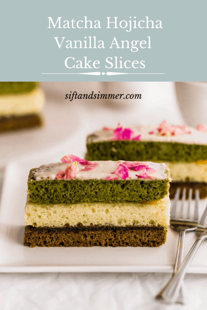 Three layered matcha hojicha angel cake slices on white plate, with text overlay.