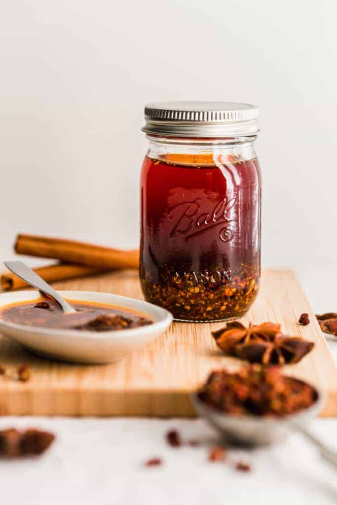 Jar of chili oil.