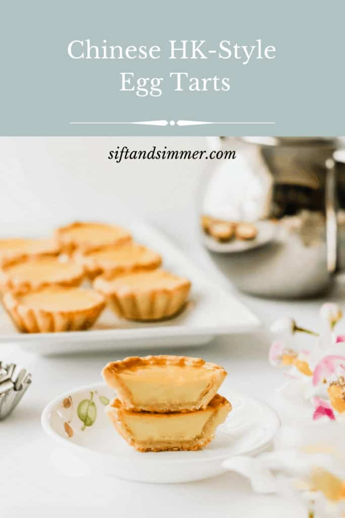 Cut egg tarts on plate, with text overlay.